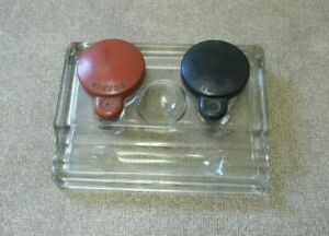 VICTOR Inkwell with pen holder and caps Numan W-H Co Dept Vintage Glass inkwell