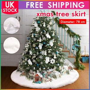 White Christmas Tree Skirt Base Faux Fur Xmas Floor Mat Ornaments Decoration UK