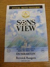 21/03/1995 Dumbarton v Berwick Rangers  (Excellent Condition)
