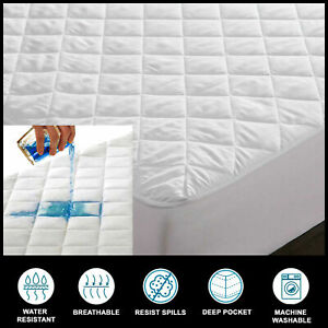 100% Cotton Waterproof Mattress Protectors Pad Toppers 40cm Extra Deep All Sizes