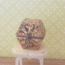 Antique gold BOX metal 1:12th scale dolls house chest jewellery spooky magical