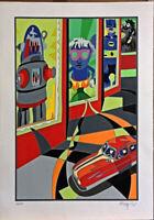 UGO NESPOLO serigrafia + collages Robot 70x50 firmata numerata