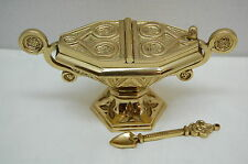 NICE USED BRASS GOTHIC INCENSE BOAT AND SPOON.  (Censer, Chalice, Church,)