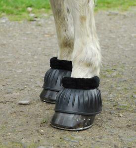 Rhinegold Fleece Trim Flexi Rubber Over Reach Boots  - Large Medium - Black