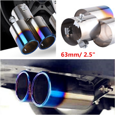 Stainless Steel Car Rear Dual Exhaust Pipe Tail Muffler Tip Throat Roasted Blue