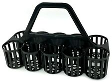 More details for glass carrier basket bottle collecting crate 10 compartment pub bar black