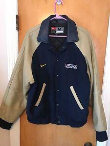 Nike ST. LOUIS BLUES Vintage Varsity Leather Wool Jacket Size M Medium NHL