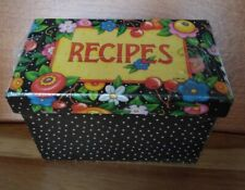 Mary Engelbreit Recipe Card Holder Box Floral and Cherries