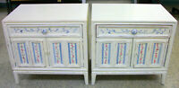 Pair of Thomasville 1965 White Floral Nightstands Tables Flowers & Girl w/ Pail