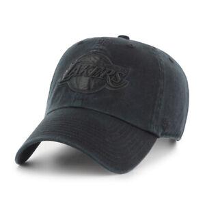 Los Angeles Lakers '47 Clean Up Black on Black Hat Cap Basketball Adjustable NBA
