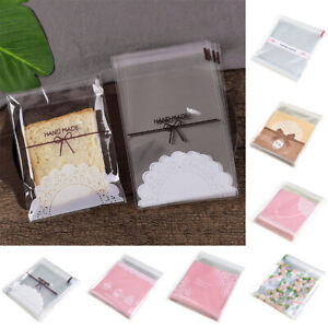 100pcs Self-Adhesive Plastic Cookie Bag Candy Gift Packaging Birthday Bags