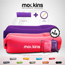 Mockins Inflatable Blow Up Lounger Outdoor Chair Bed Sofa Travel, Bag & Pockets