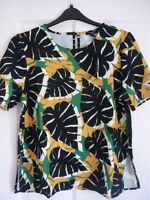 THERAPY MALIN LEAF PRINT TOP in IVORY BLACK GREEN. UK 14, EUR 40-42, US 10. BNWT