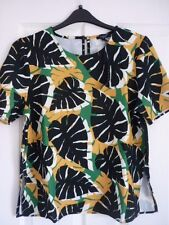 THERAPY MALIN LEAF PRINT TOP in IVORY BLACK GREEN. UK 18, EUR 44-46, US 14. BNWT