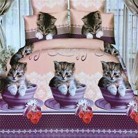 3D Cute Cat Kitty Duvet Quilt Cover Pillowcase Bed Set Queen Size L