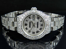 Ladies Rolex Datejust 26MM Oyster S.Steel Full Iced Dial Diamond Watch 9.75 Ct