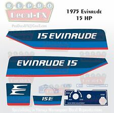 1975 Evinrude 15 HP Outboard Reproduction 9 Piece Vinyl Decals Two Stroke