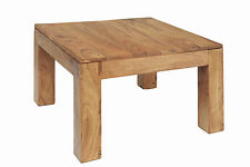 Lamp Side End Coffee Table Rustic Square Solid Acacia Brushed Sand Finish