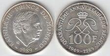 Gertbrolen MONACO 100 Francs Argent  40 Ans du Règne de  Rainier III 1989 N° 6