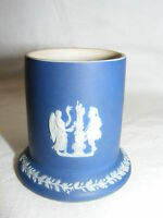 """Vintage Porcelain Blue Wedgwood 2"""" Vase Cup High Relief Roman Mythilogical Scene"""