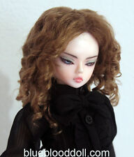 "1/4 bjd 7-8"" doll head brown color curly wig MSD Luts iplehouse minifee W-182M"