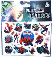 NEW Spiderman Temporary Tattoo Sheet Children Kids Birthday Party Bag Filler