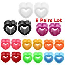 9 Pairs Acrylic Heart Shape Ear Tunnels Stretcher Expander Ear Plug 4mm-12mm