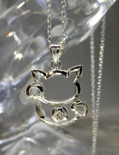 NECKLACE WOMENS/GIRLS, FORTUNE CAT WITH CRYSTAL, CABLE CHAIN - 7718