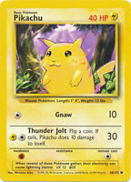 Pikachu Common Pokemon Card Base Set Unlimited English 58/102