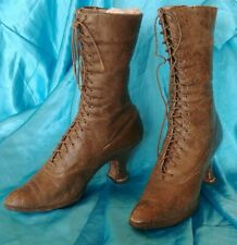 Vintage Antique Wolfelt Ladies Victorian Lace up Leather Granny Boots with Heels