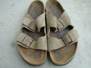 BIRKENSTOCK Arizona Sandals Taupe Tan Suede Slides Distressed Mens Size 11 EU 44