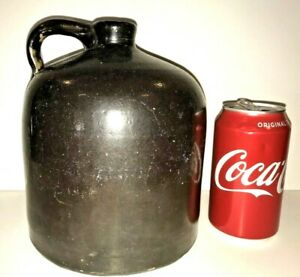 "Black Jug with Handle Stoneware Pottery Folk Art 7-1/2"" Tall"