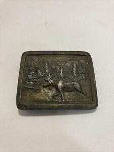Vintage 1976 Indiana Metal Craft - Moose In Nature Belt Buckle