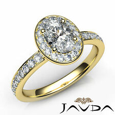 Gia F Vvs2 18k Yellow Gold 1.16Ct Halo Pave Set Oval Cut Diamond Engagement Ring