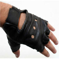 MENS BLACK LEATHER FINGER LESS DRIVING MOTORCYCLE BIKER GLOVES Work Out Exercise