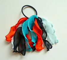 Gymboree Girls Frilly Hair Bobble/Hair Tie - Blue and Orange, Brand New