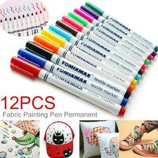 12Pcs Fabric Markers Permanent Painting Pens Kit Clothing Textile T-Shirt Shoes