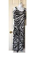 Chicos Dress Maxi Cold Shoulder Zebra Black & White Knit Kit Size 3