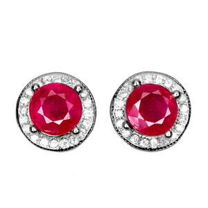 Round Red Ruby 5mm Cz 14K White Gold Plate 925 Sterling Silver Earrings