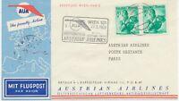 ÖSTERREICH AUA ERSTFLUG 1958 WIEN – PARIS (Stempel-Nr. 3), K1 WIEN / FLUGHAFEN