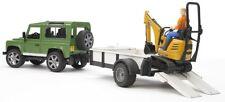 Bruder Land Rover Defender Station Wagon w JCB Microexcavator & Worker 02593 NEW