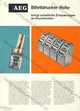 AEG Billettdrucker Rolly Prospekt 1962 Fahrschein Eintrittskarte Billett
