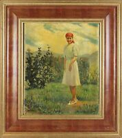 B4-062. CAMPESINA. OIL ON CANVAS. WALTER RIEMER. TWENTIETH CENTURY.