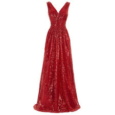 Women Bridesmaid Dresses V-neck Sequins Glitter Dress Evening Party Dresses Gown