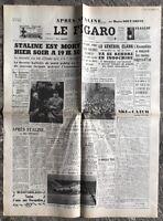 N133 La Une Du Journal Le Figaro 6 Mars 1953