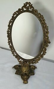 Vintage Italian Brass Ornate Stand Mirror, Vanity Table Rococo/Baroque Style