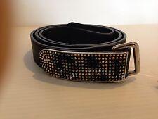Giuseppe Zanotti NWT Men's Swarovski Crystal Buckle  Leather Belt ORIG ($495)