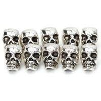 10 Antique Silver Skull Head Spacer Beads Charm Bracelet Findings 4mm Hole
