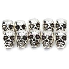 10 Antique Silver Skull Head Spacer Beads Jewelry Bracelet Findings 4mm Hole