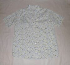 EWM White with Turquoise and Yellow Floral Print Blouse Size 12